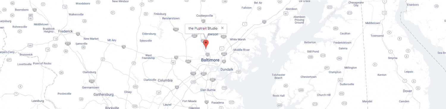 a map of the Puptrait Studio in Baltimore, Maryland near Washington D.C., Northern Virginia, and Annapolis Maryland