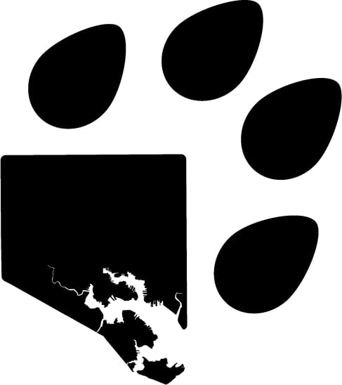 A blend of an outline of Baltimore City and the outline of a Dog Paw, the Pawtimore is a subtle nod to the dogs of Baltimore