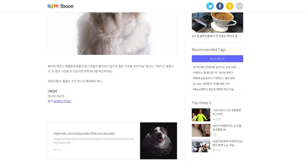 Screenshot of the author's photos being used on a Korean language website properly linking to both the artist's portfolio and print sale websites.