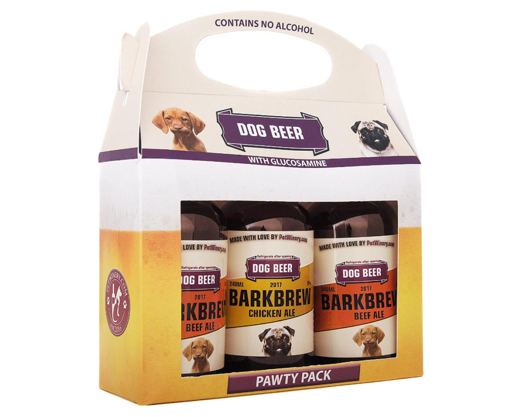 "BarkBrew Pawty Pack features a variety of dog safe ""ales"" - including Chicken and Beef flavors."