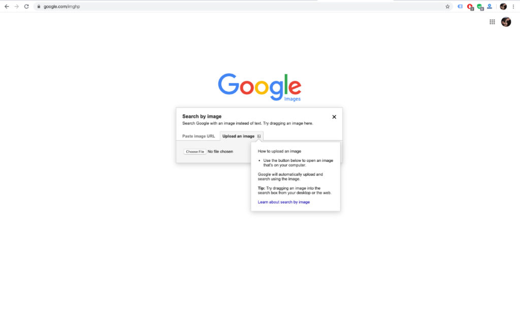 A screenshot of Google Search for Images. It ain't much, but it's an honest living.
