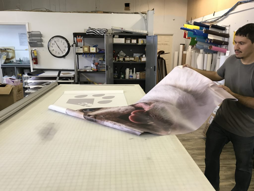 Photo of the Dog Avenue banners being printed at Alpha Graphics in Woodberry, Baltimore, Maryland.